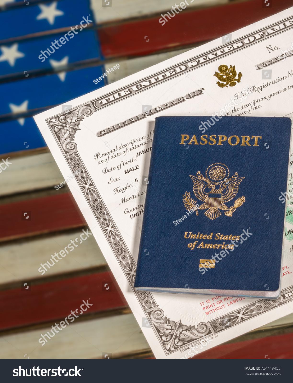 Usa Passport Naturalization Certificate Citizenship Over Stock Photo