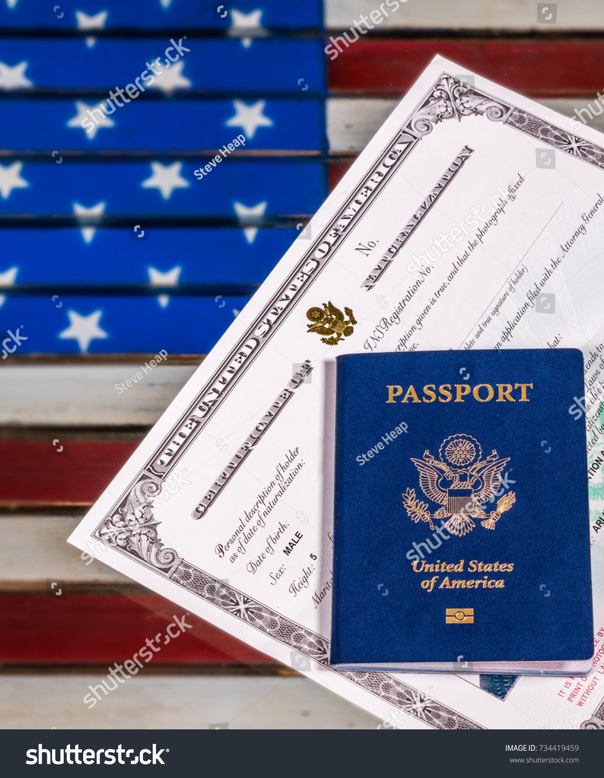 Usa passport naturalization certificate citizenship over stock usa passport and naturalization certificate of citizenship over background of a wooden us stars and stripes 1betcityfo Images