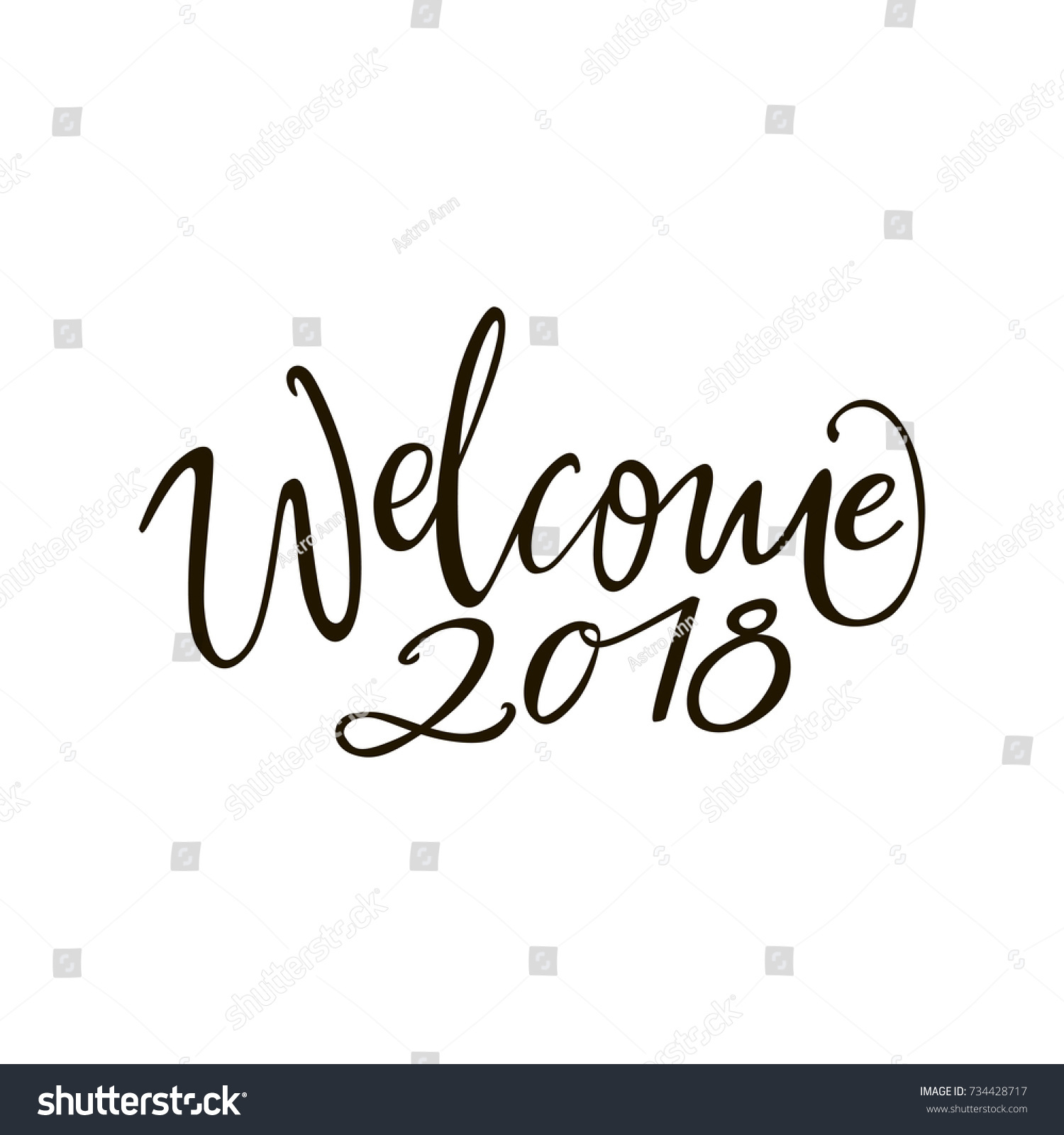 Welcome 2018 Greeting Lettering Phrase Holiday Stock