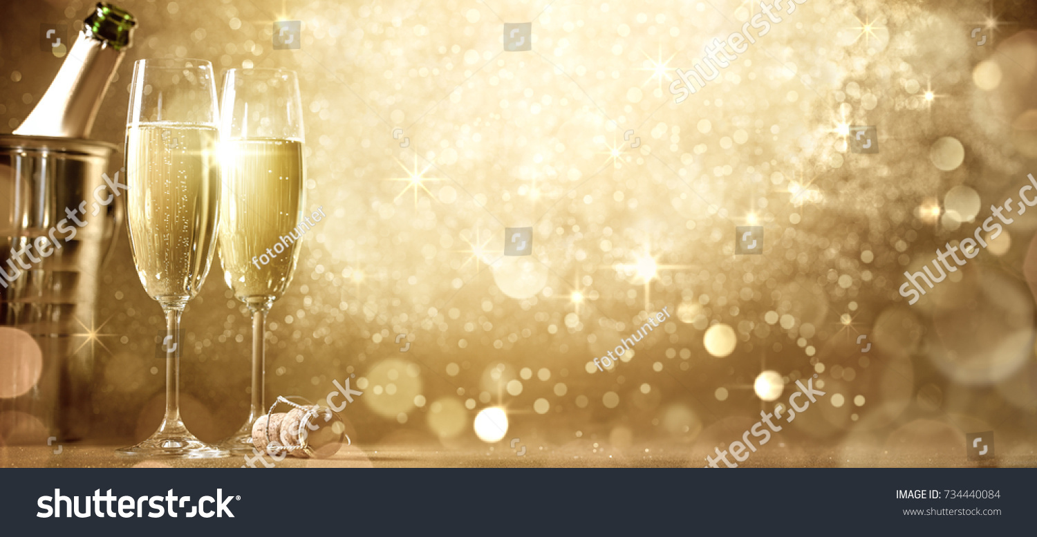 New Years Eve Celebration Champagne Stock Photo 734440084