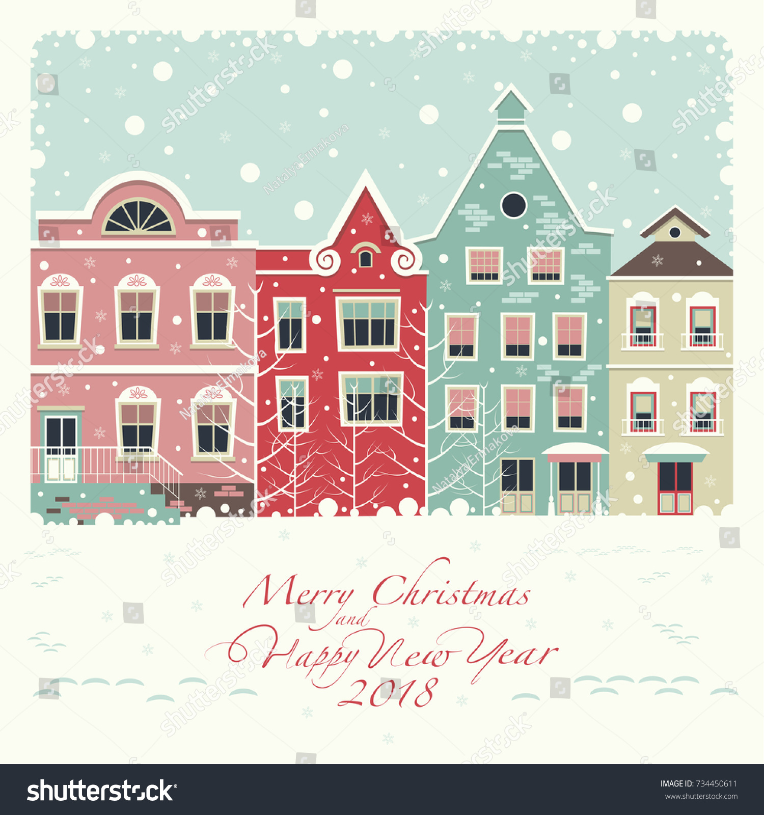 Cover Card Depicts Winter Street Houses Stock Vector (Royalty Free ...