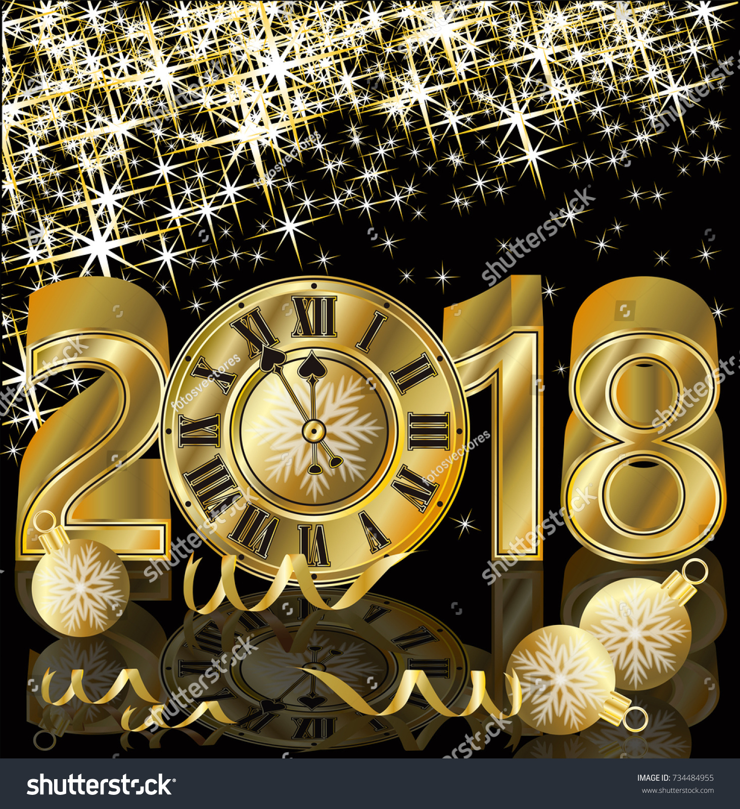 happy new 2018 year golden greeting wallpaper vector illustration