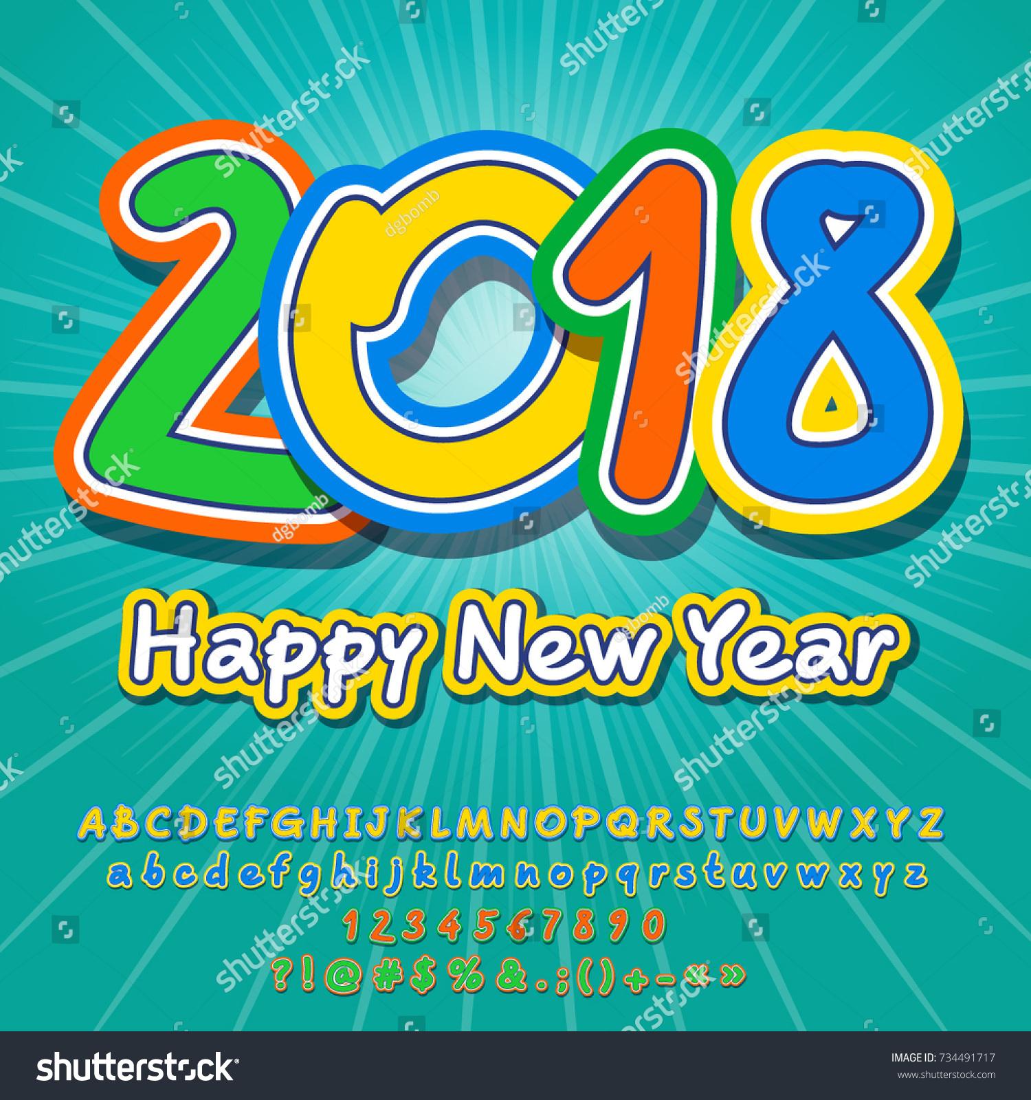 Vector Happy New Year 2018 Greeting Stock Vector 734491717