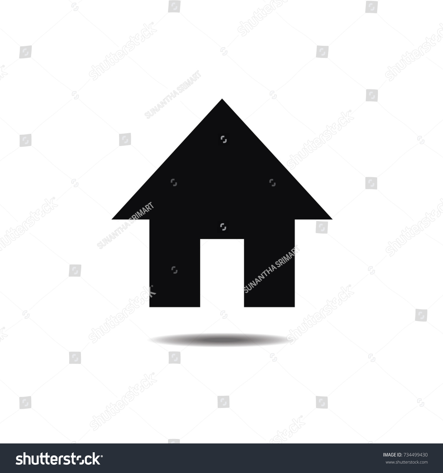 Home Icon Simple Design On White Stock Vector 734499430 - Shutterstock