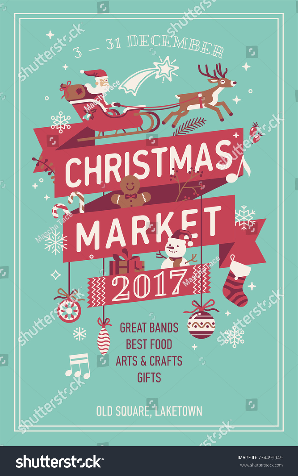 Lovely Vector Christmas Market Poster Template Stock Vector Royalty