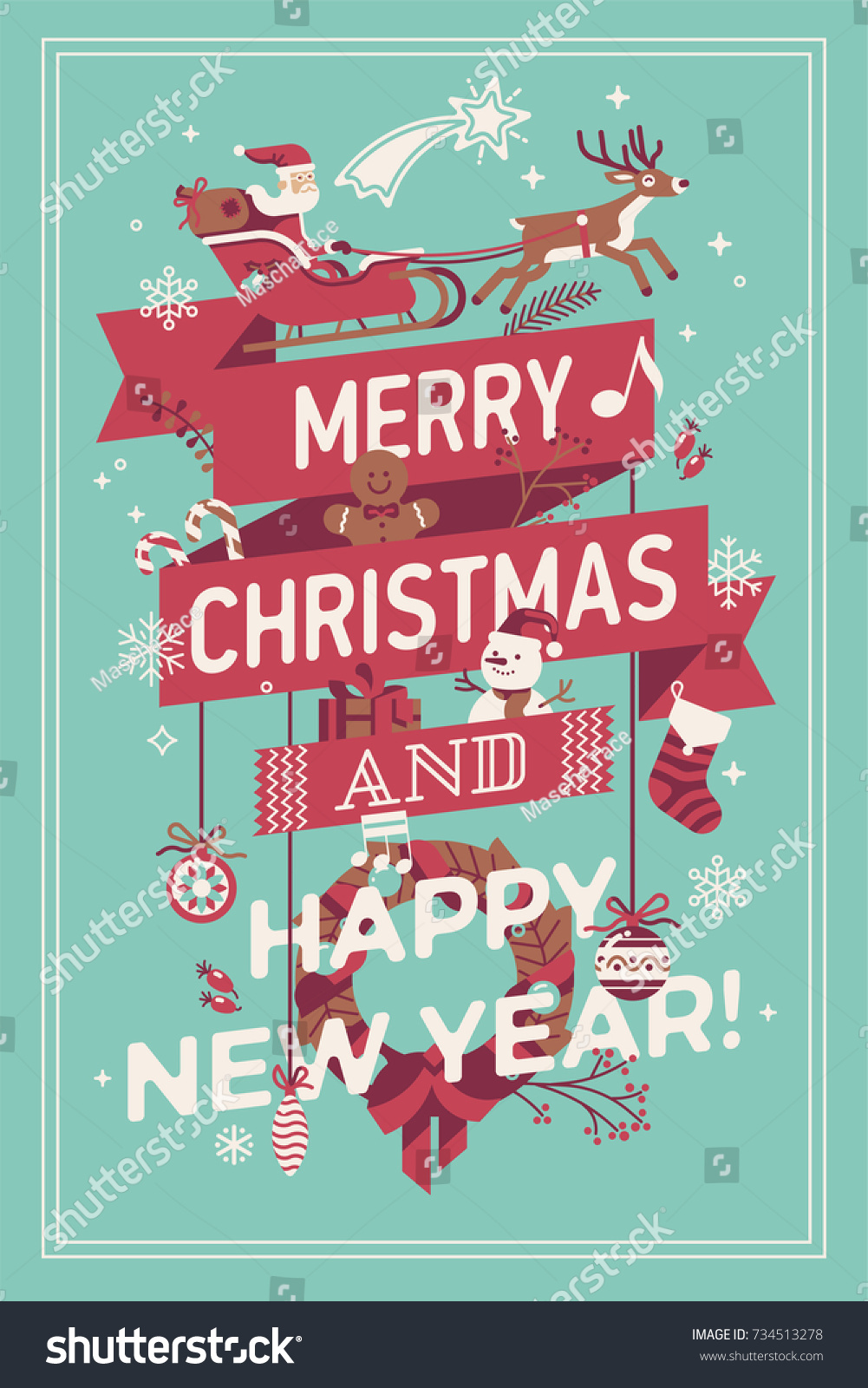 merry christmas and happy new year vector poster banner or greeting card template ideal