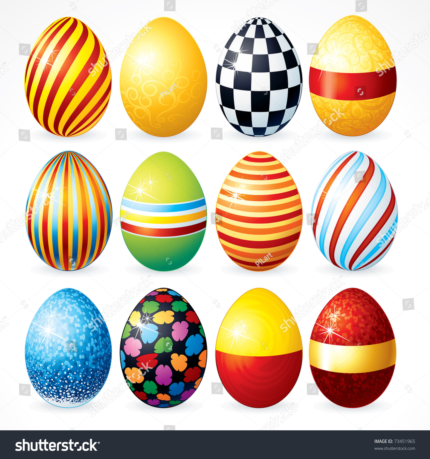 Isolated Easter Eggs Happy Easter Day Stock Vector 73451965 ...