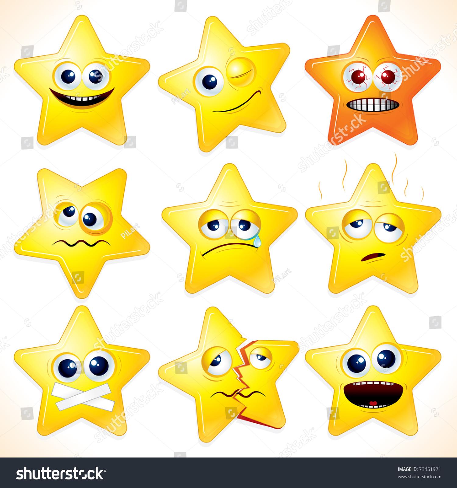 Smiley Cartoon Stars Clip Art Various Stock Vector 73451971 ...