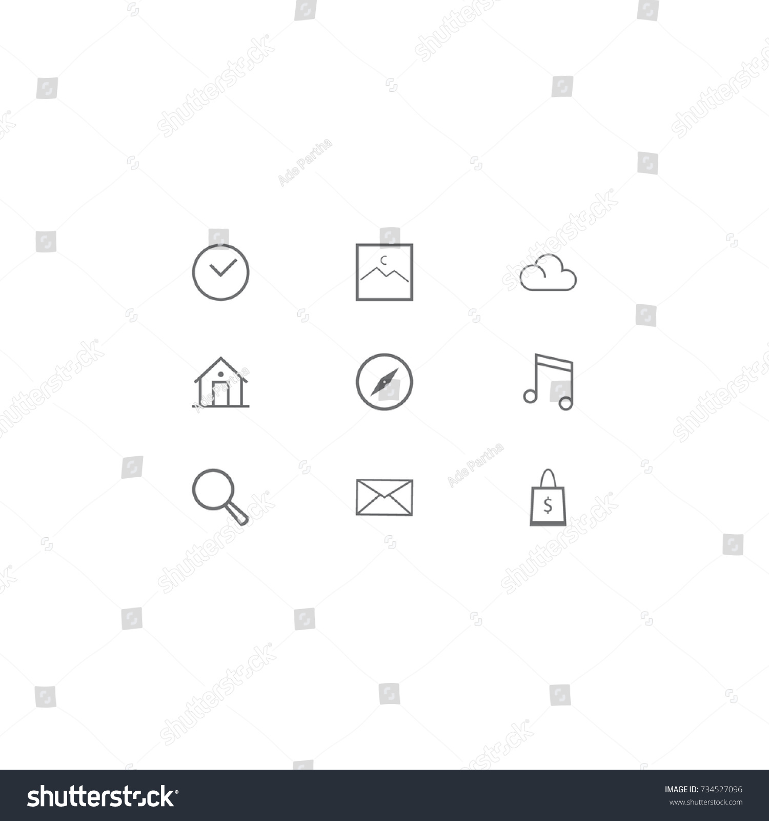 Minimalist Icon Pack Time Clock Icon Stock Vector (Royalty