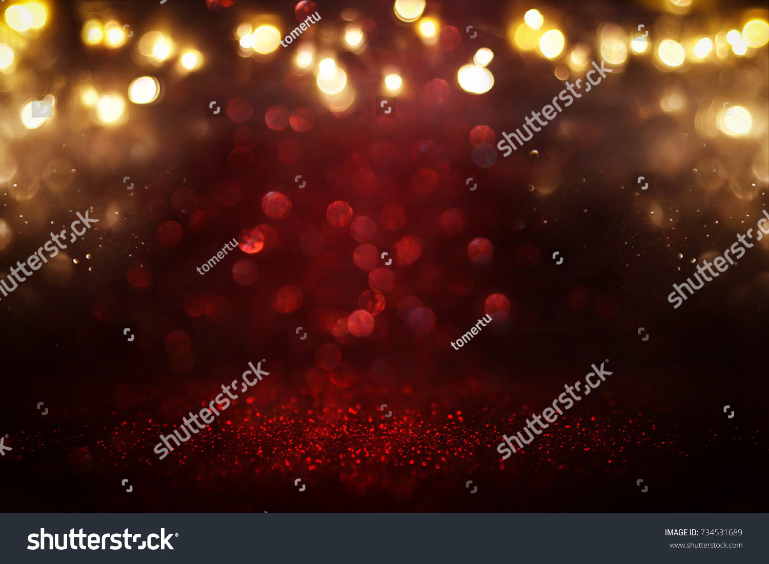 Red glitter vintage lights background. defocused. #734531689