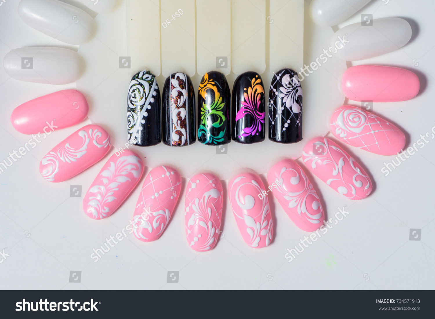 Manicure Nail Color Design Samples Pink Stock Photo (Edit Now ...