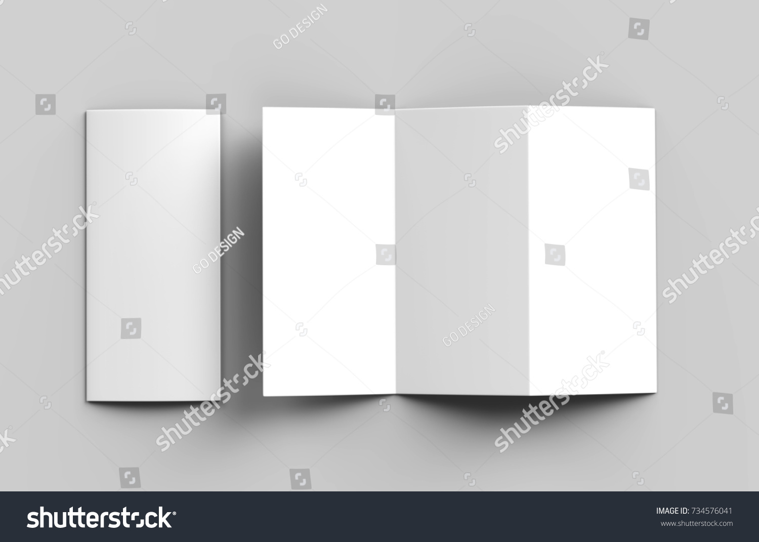 Blank White Z Fold Brochure Mock Stock Illustration - Z fold brochure template