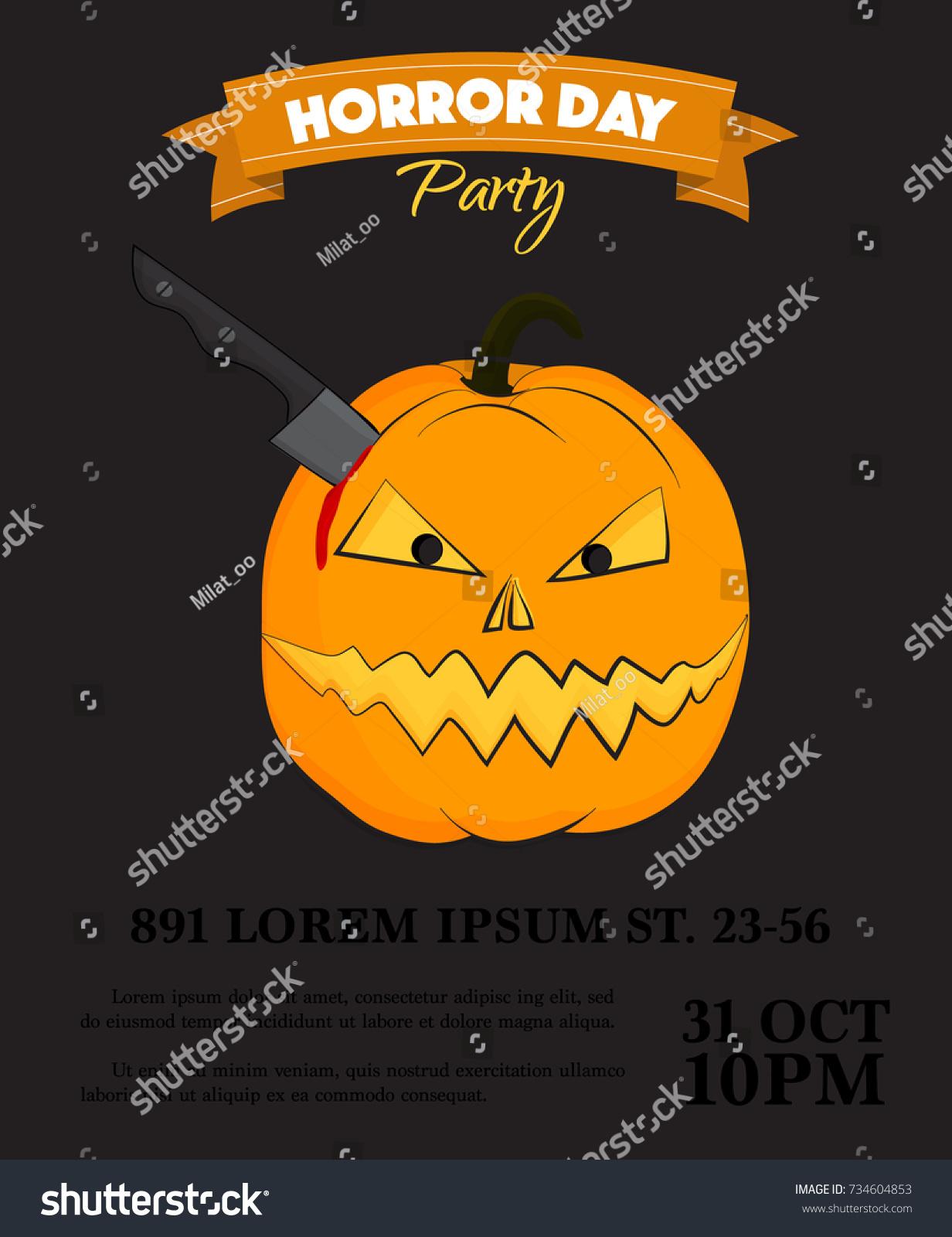 Vector Halloween Party Invitation Scary Pumpkin Vector – Scary or Horror Invitation Cards