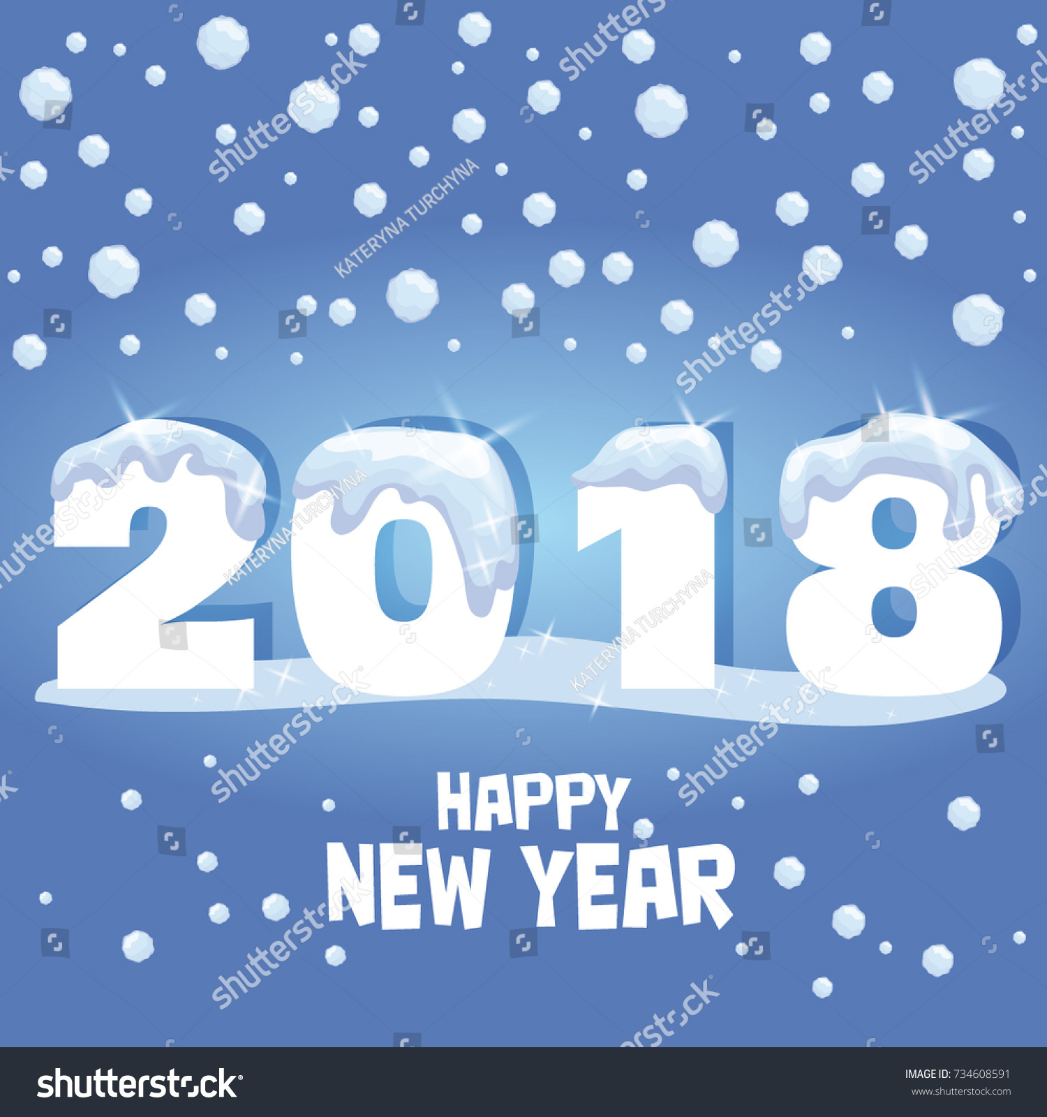 Happy new year greeting card vector stock vector 734608591 happy new year greeting card vector illustration new year design for congratulation cards kristyandbryce Choice Image