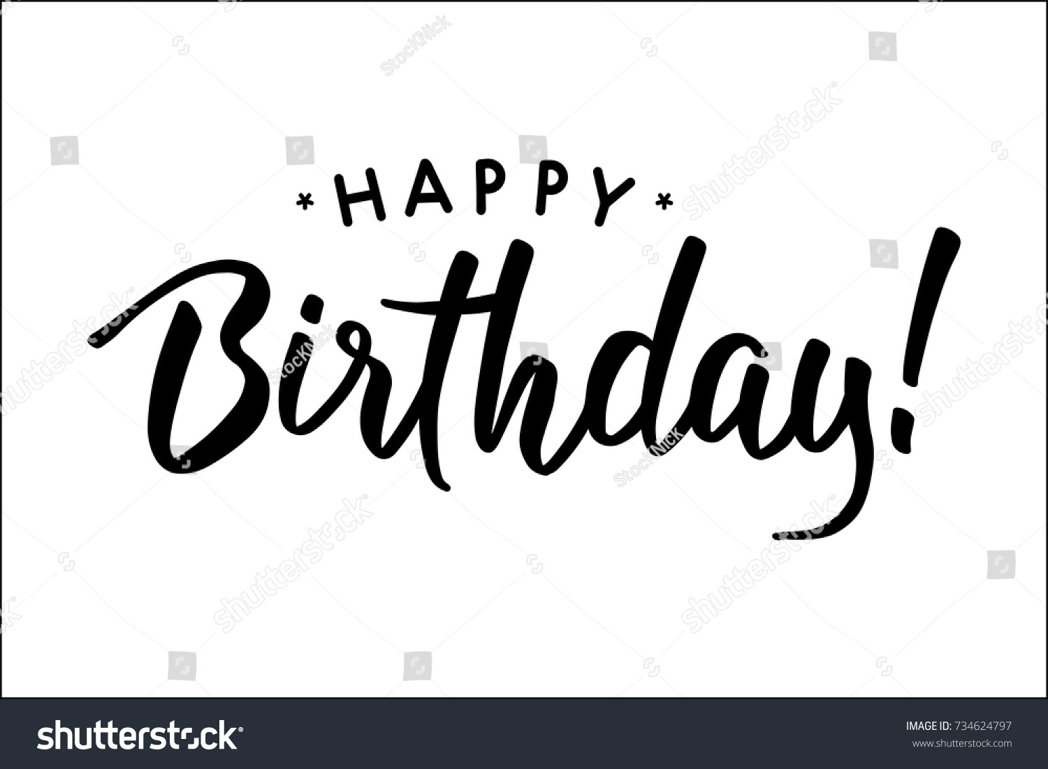 Happy Birthday Beautiful Greeting Card Hand Stock Vector