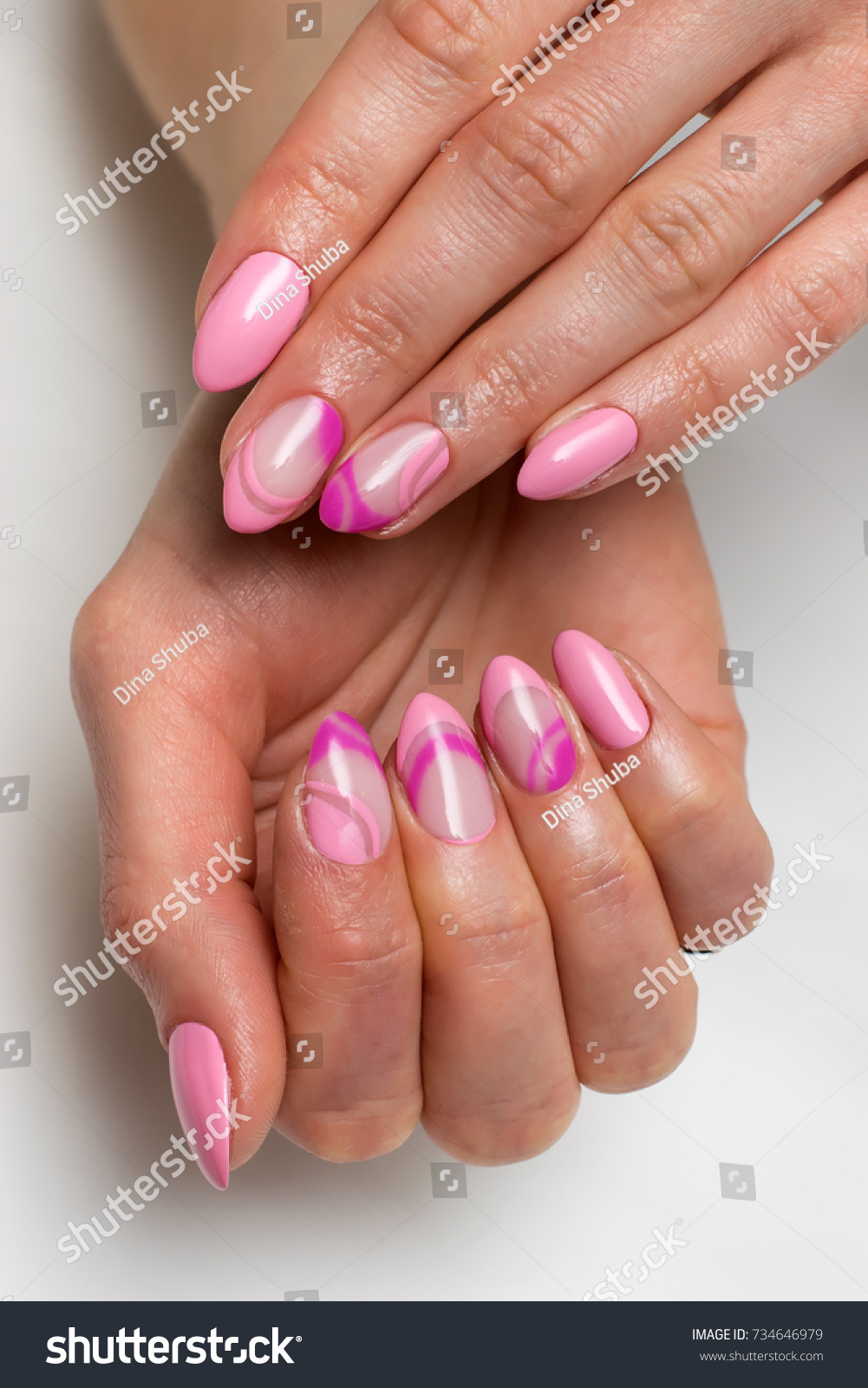 Gentle Pink French Manicure Violet Painting Stock Photo (Edit Now ...