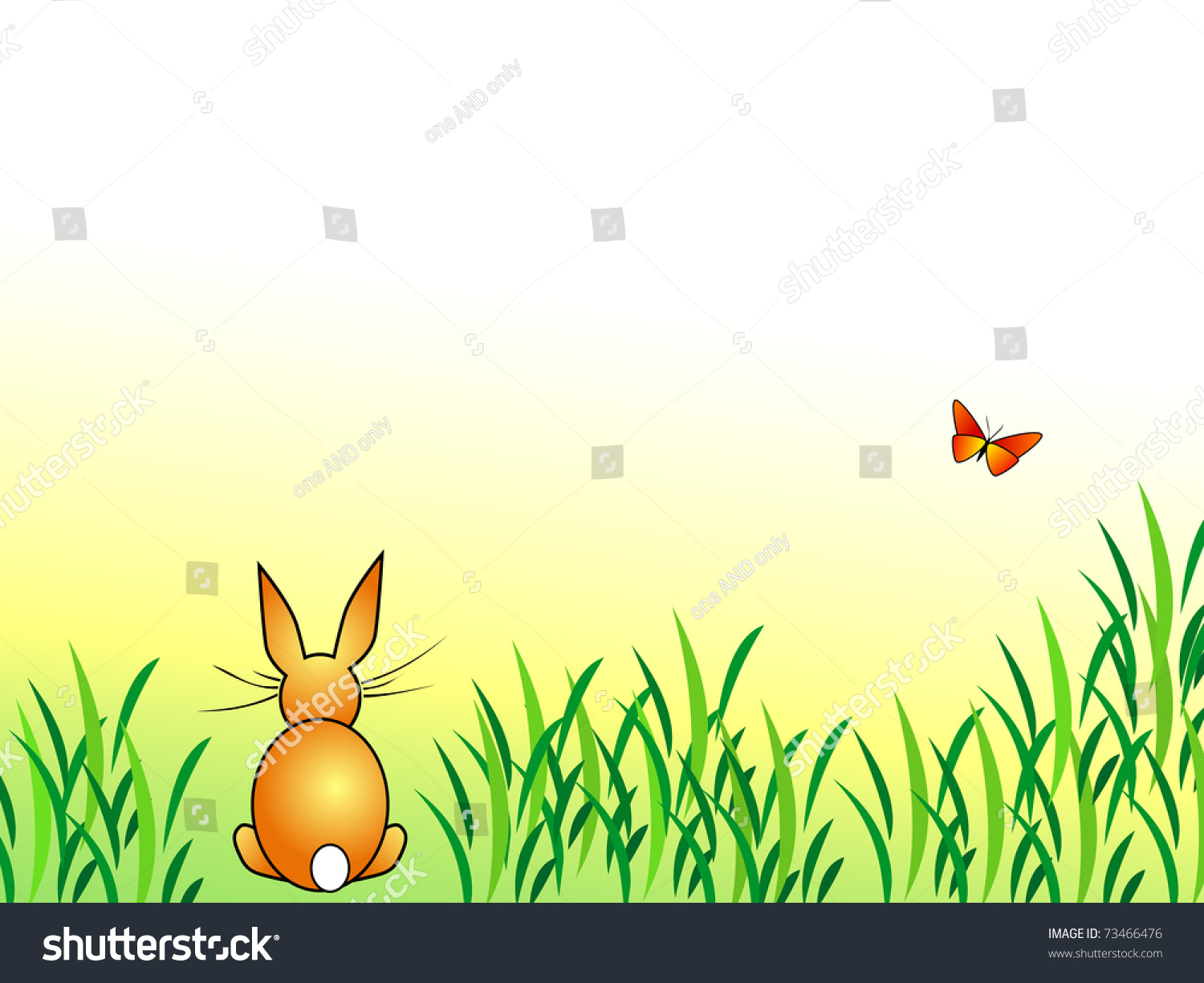 Rabbit Sitting In Green Grass With