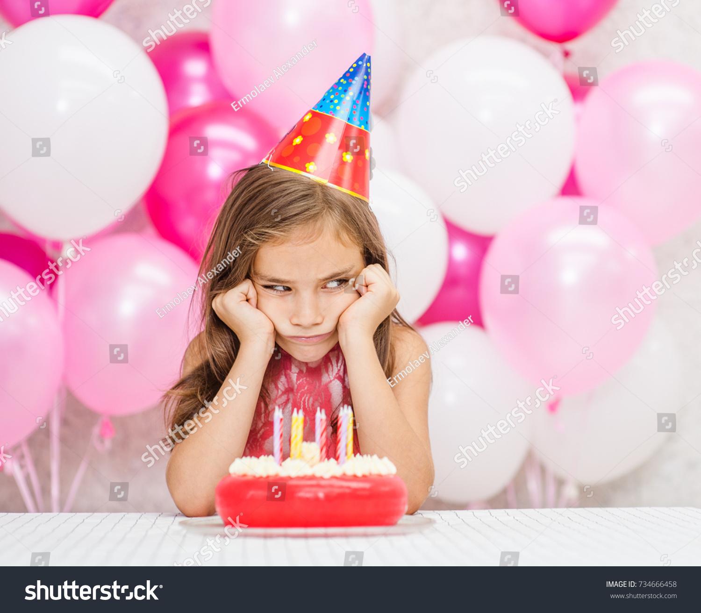 Sad Girl Party Hat Birthday Cake Stock Photo Edit Now 734666458