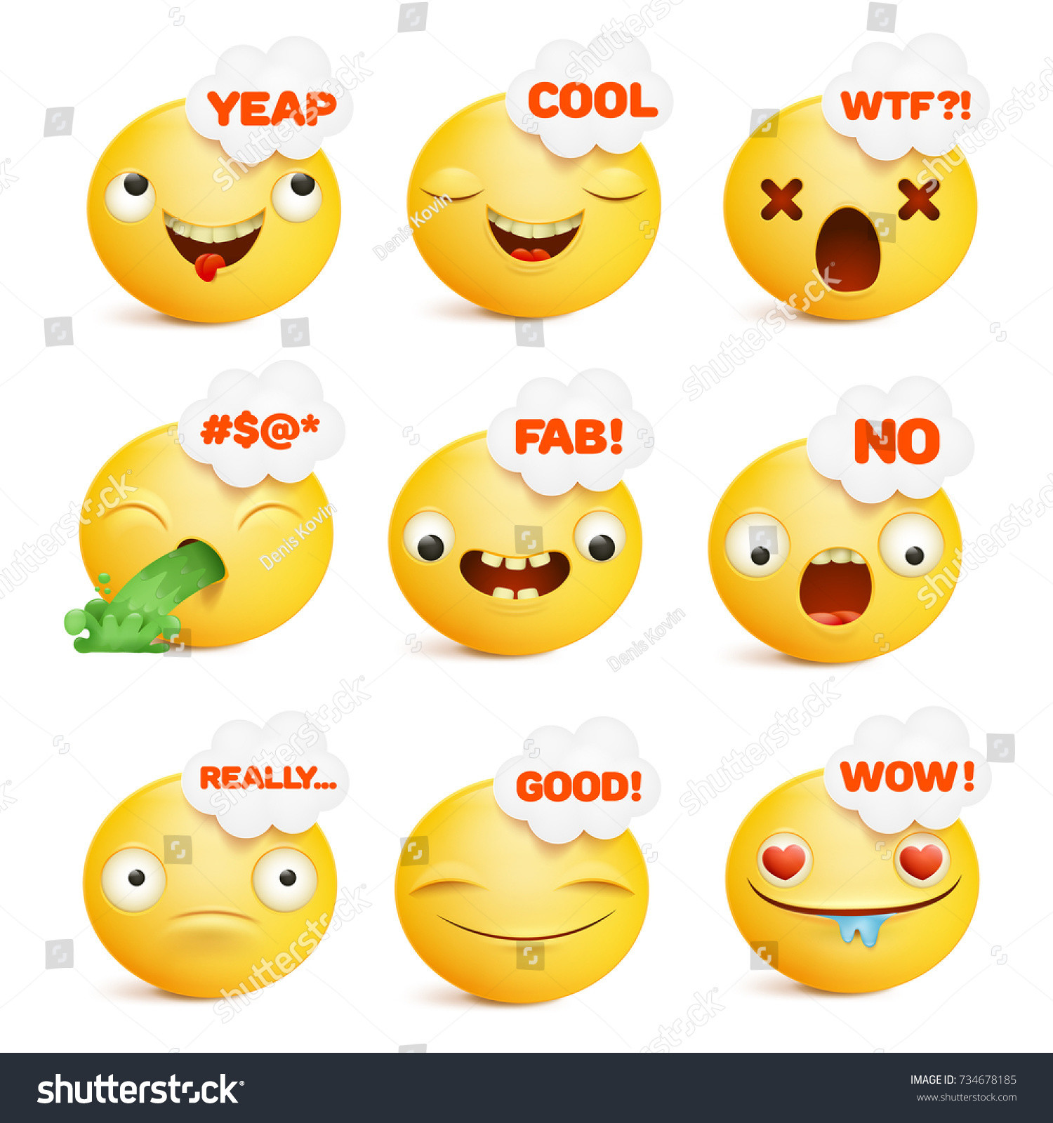 Set Yellow Smiley Face Emoticon Characters Stock Vector Royalty