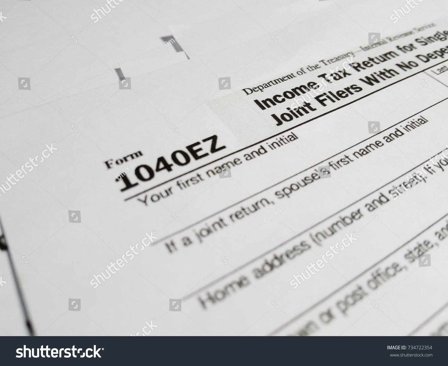 Close usa tax form type 1040ez stock photo 734722354 shutterstock close up of usa tax form type 1040ez income tax return for single and joint falaconquin