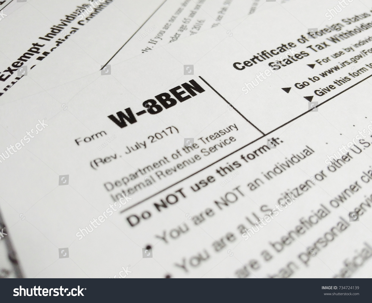 Close Up of USA Tax Form type W-8BEN, Certificate of Foreign Status ...