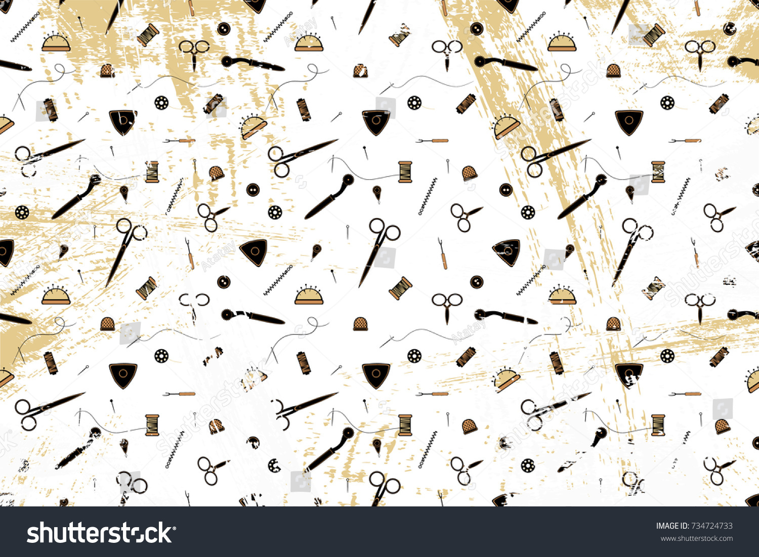 Vector pattern image tools sewing theme stock vector 734724733 vector pattern with the image of tools for sewing theme for fashion can be jeuxipadfo Image collections