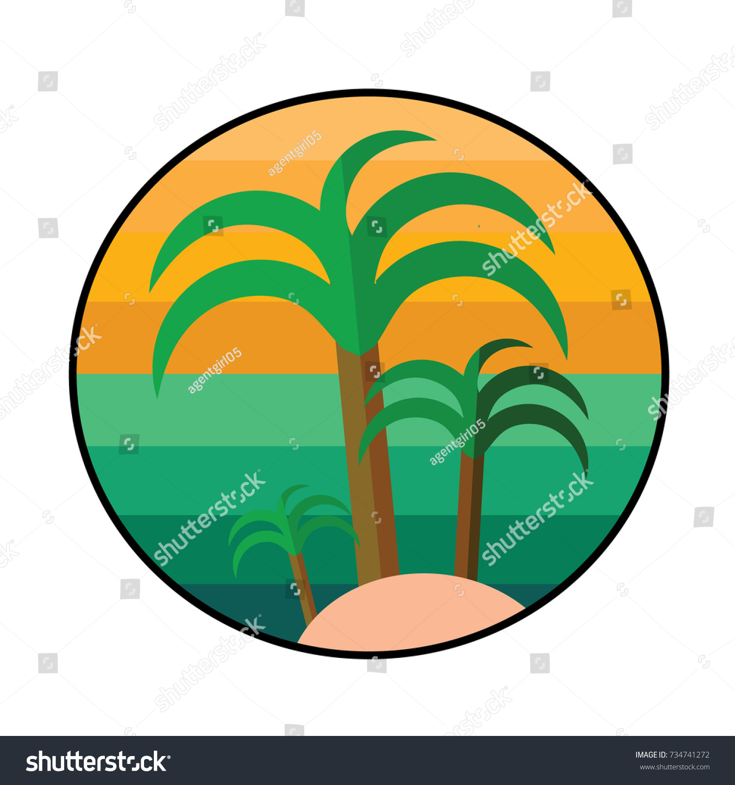 Silhouette Illustration Tropical Palm Tree Crown Stock Illustration