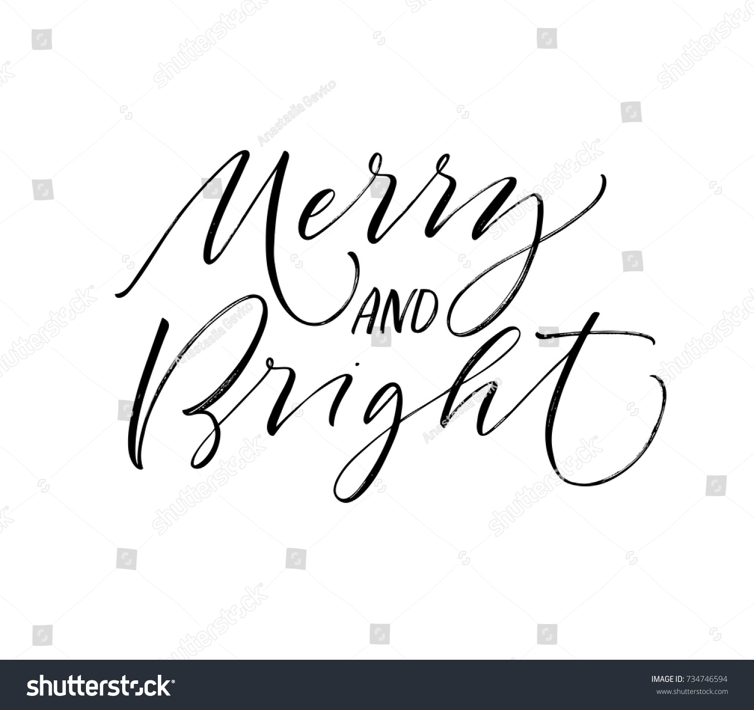 Merry bright phrase greeting card holiday stock vector 734746594 merry and bright phrase greeting card holiday lettering ink illustration modern brush kristyandbryce Choice Image