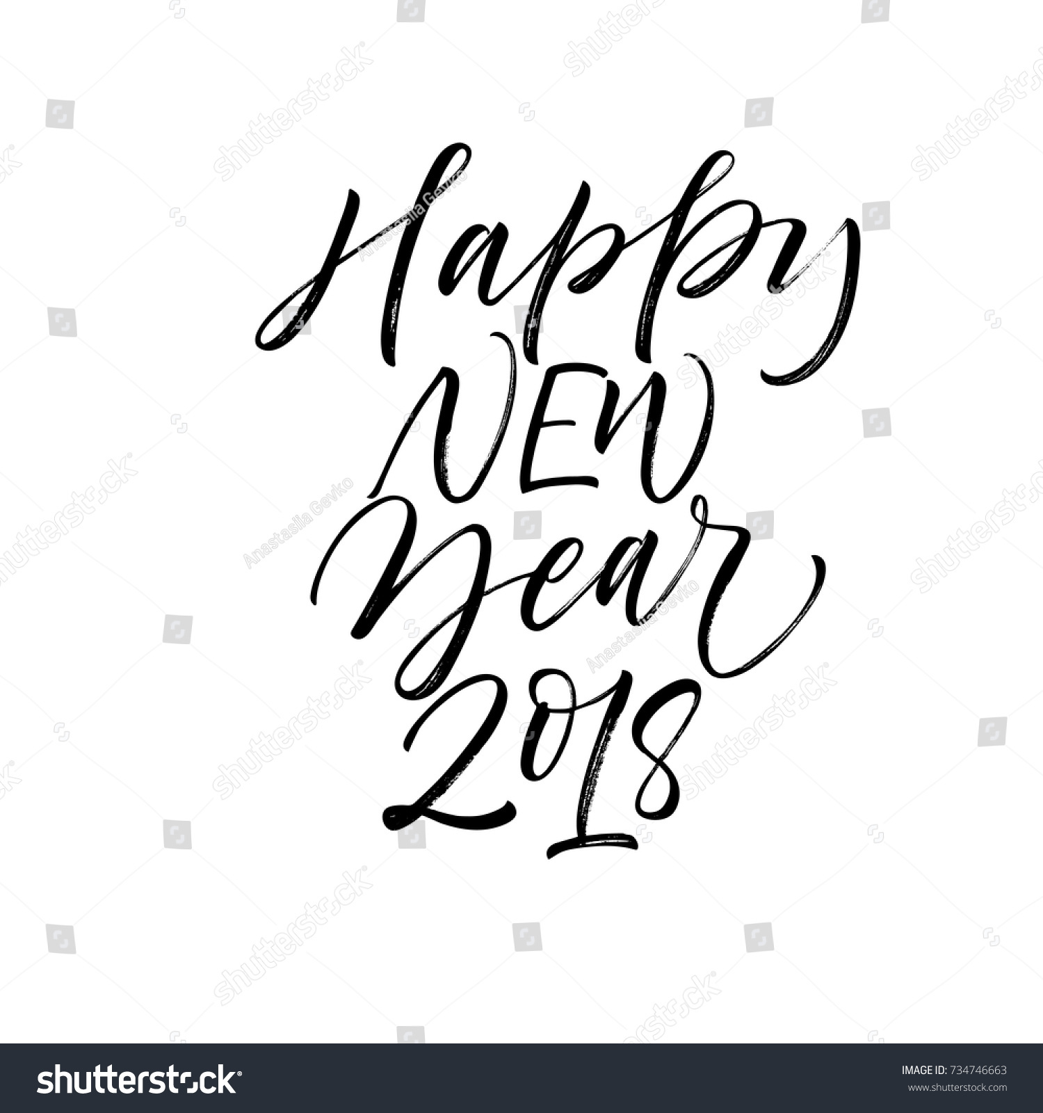 Happy New Year 2018 Phrase Greeting Stock Vector (Royalty Free ...