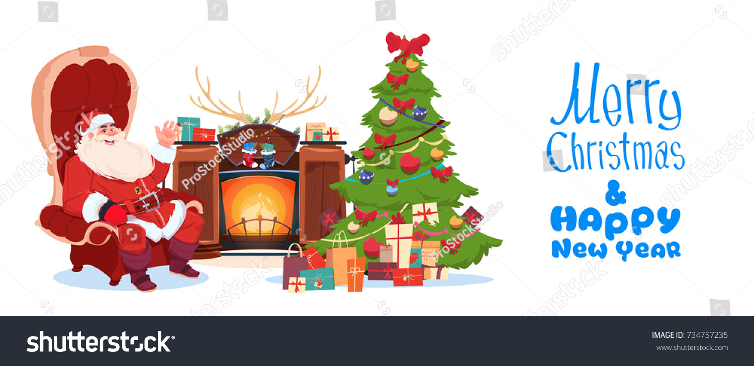 Merry Christmas Happy New Year Greeting Stock Vector ...