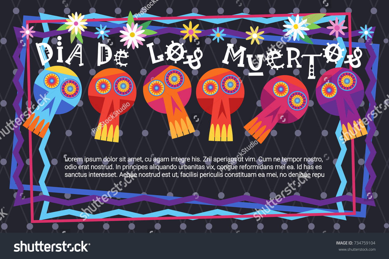 Day Dead Traditional Mexican Halloween Dia Stock Vector 734759104 ...