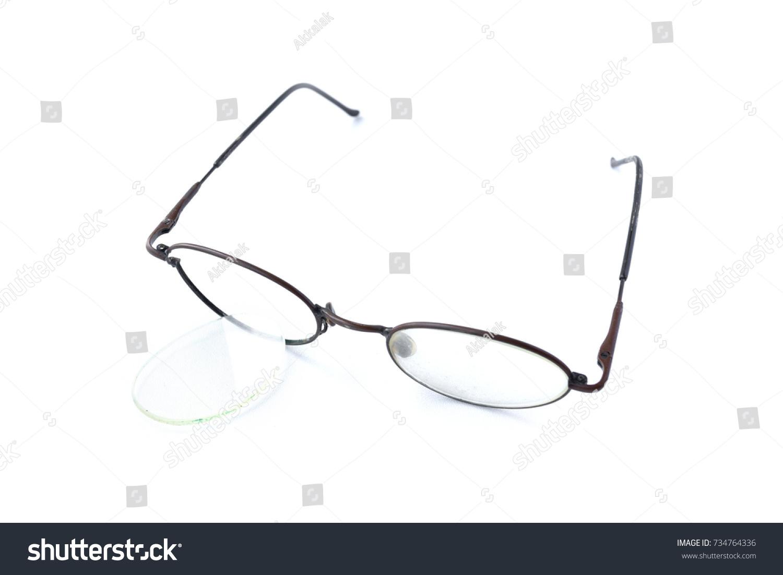 Old Glasses Broken Brown Lens Frame Stock Photo 734764336 - Shutterstock