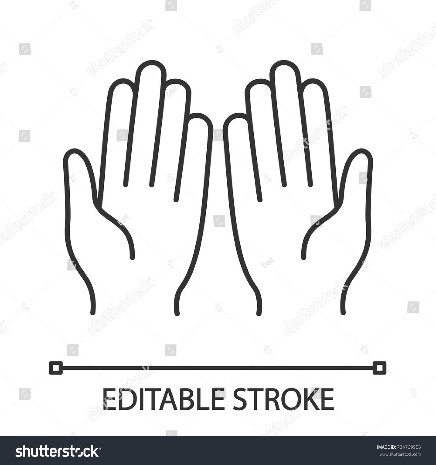 Muslim Praying Hands Linear Icon Thin Stock Vector Royalty Free