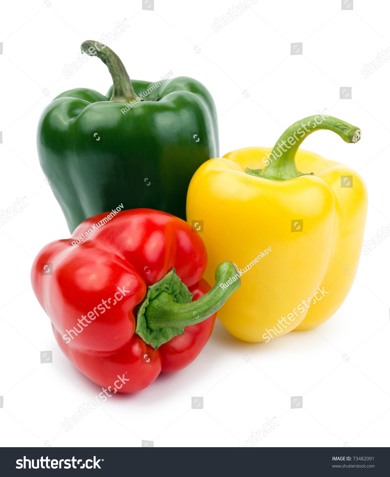 Colored Paprika Pepper Isolated On White Stock Photo ...