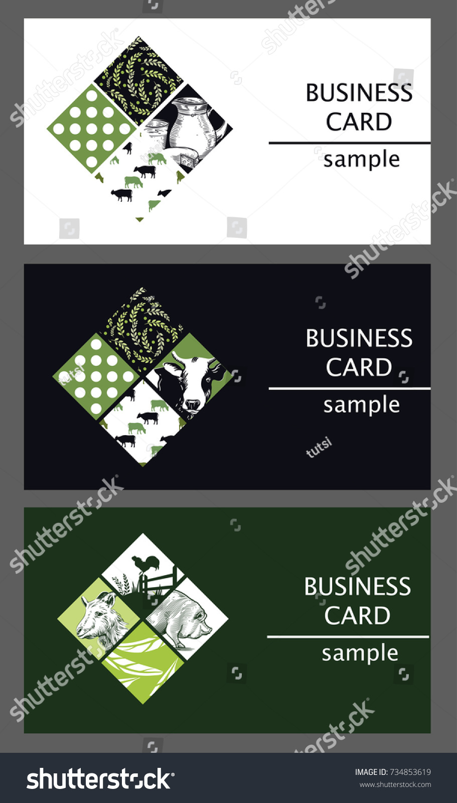 Templates business cards image farm animals stock vector 734853619 templates of business cards with the image of farm animals dairy products and plant ornaments magicingreecefo Choice Image