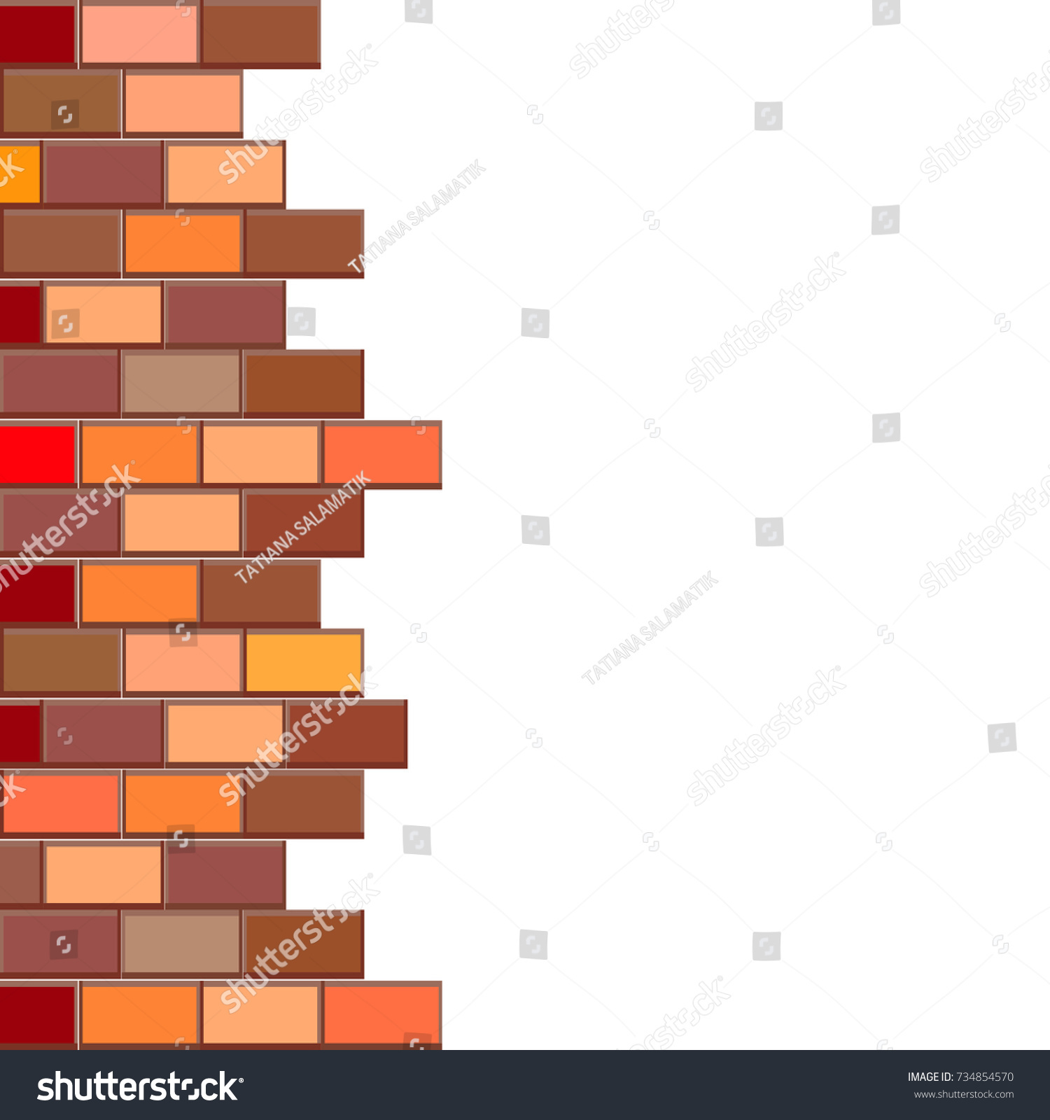 broken brick wall place your design stock vector 734854570 rh shutterstock com Brick Wall Sketch Clip Art Black and White Brick Wall