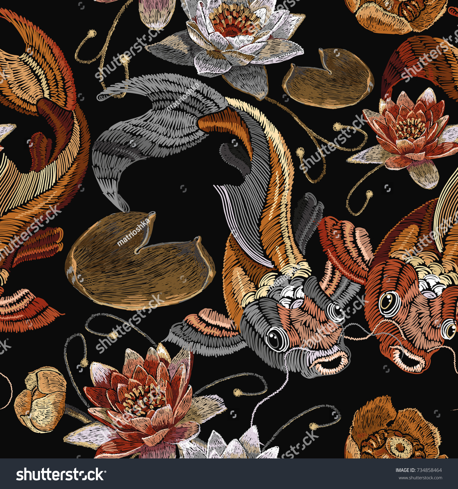 Embroidery vintage koi fish and water lily seamless pattern japanese pattern classical embroidery koi