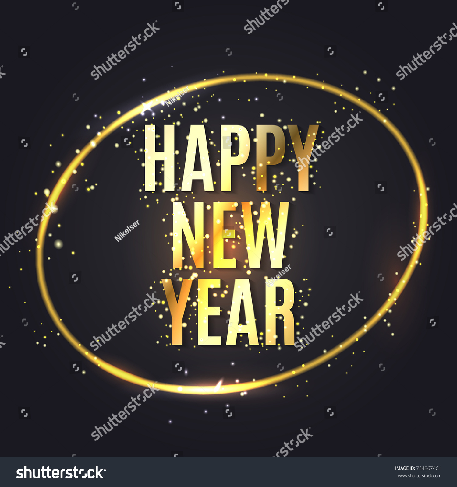 Happy New Year Wishes Greeting Card Stock Vector (Royalty