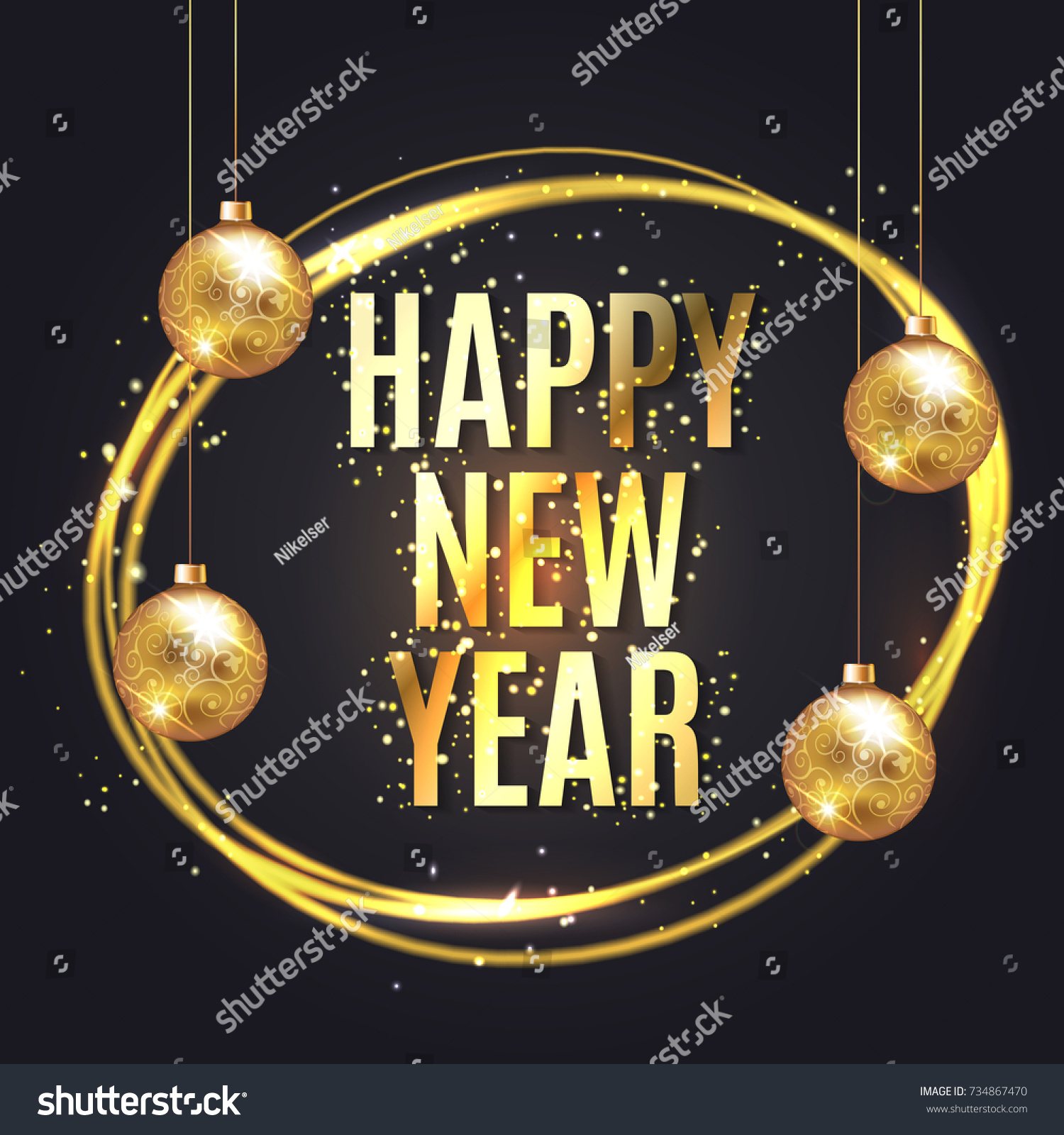 happy new year wishes greeting card with gold glitter confetti and christmas ball on luxury black