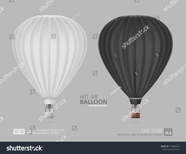 Realistic Hot Air Balloon White Black Stock Vector 734868613 ...