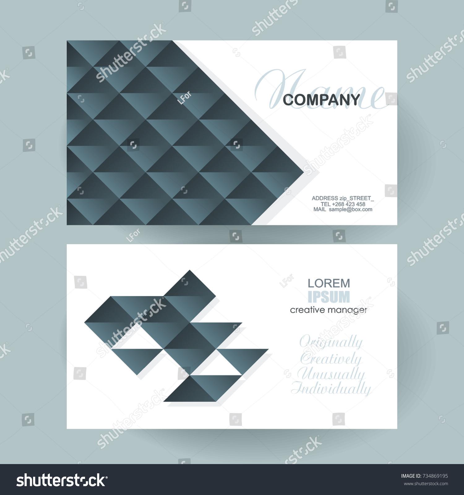 Business Card Design Poligonal Mosaic Pattern Stock Vector ...
