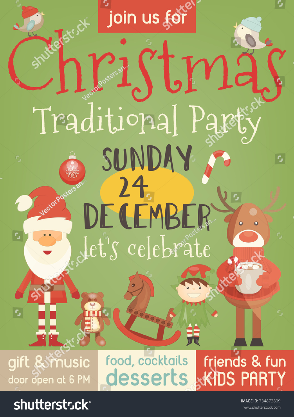 Christmas Party Invitation With Cute Santa Claus Xmas Deer And Characters For Family Celebration