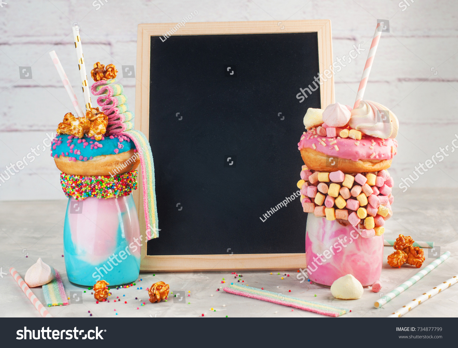 Happy Birthday Party Background Two Freak Shakes Topping With Donut Marshmallow Popcorn And