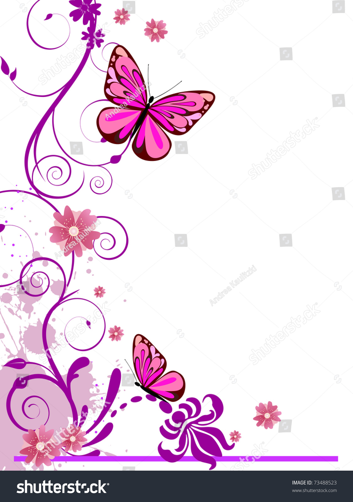 Floral Background With Butterflies - Vector - 73488523 : Shutterstock