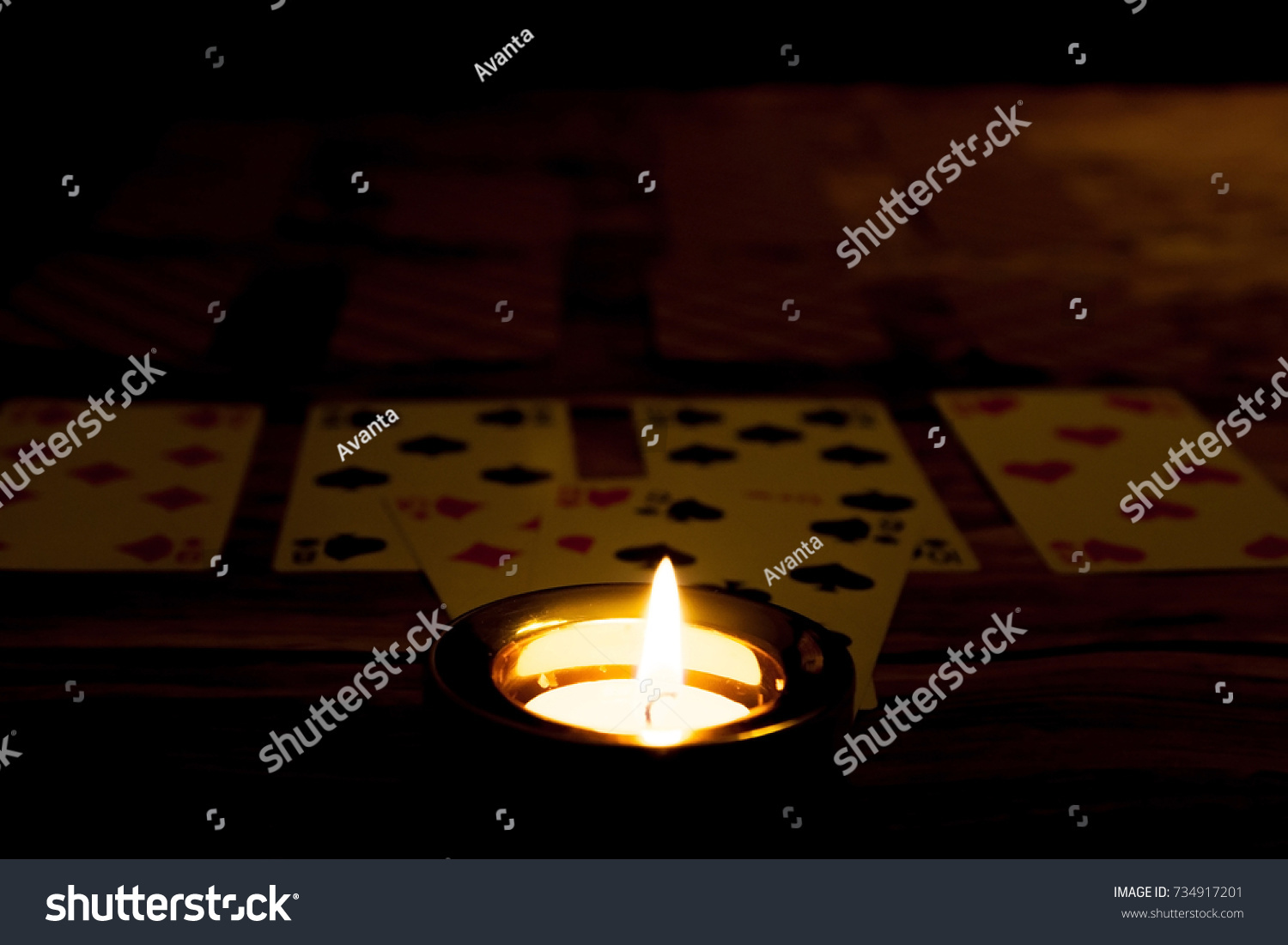 Tarot Reading Card Wallpaper Background Psychic Vintage Mystic Halloween fortune telling concept. Burning candle concept.