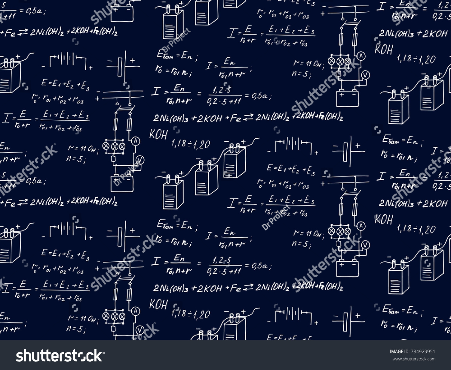 Equations on blueprint technological scientific background vector de equations on blueprint technological and scientific background vector hand drawn vintage seamless pattern malvernweather