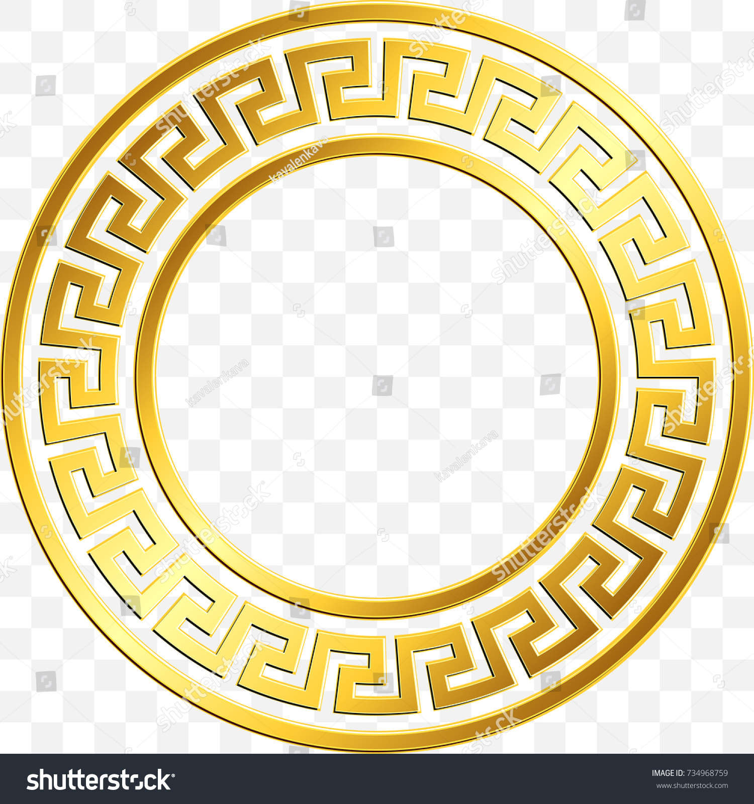 Round frame traditional vintage golden greek stock vector round frame with traditional vintage golden greek ornament meander pattern on transparent background gold biocorpaavc Image collections