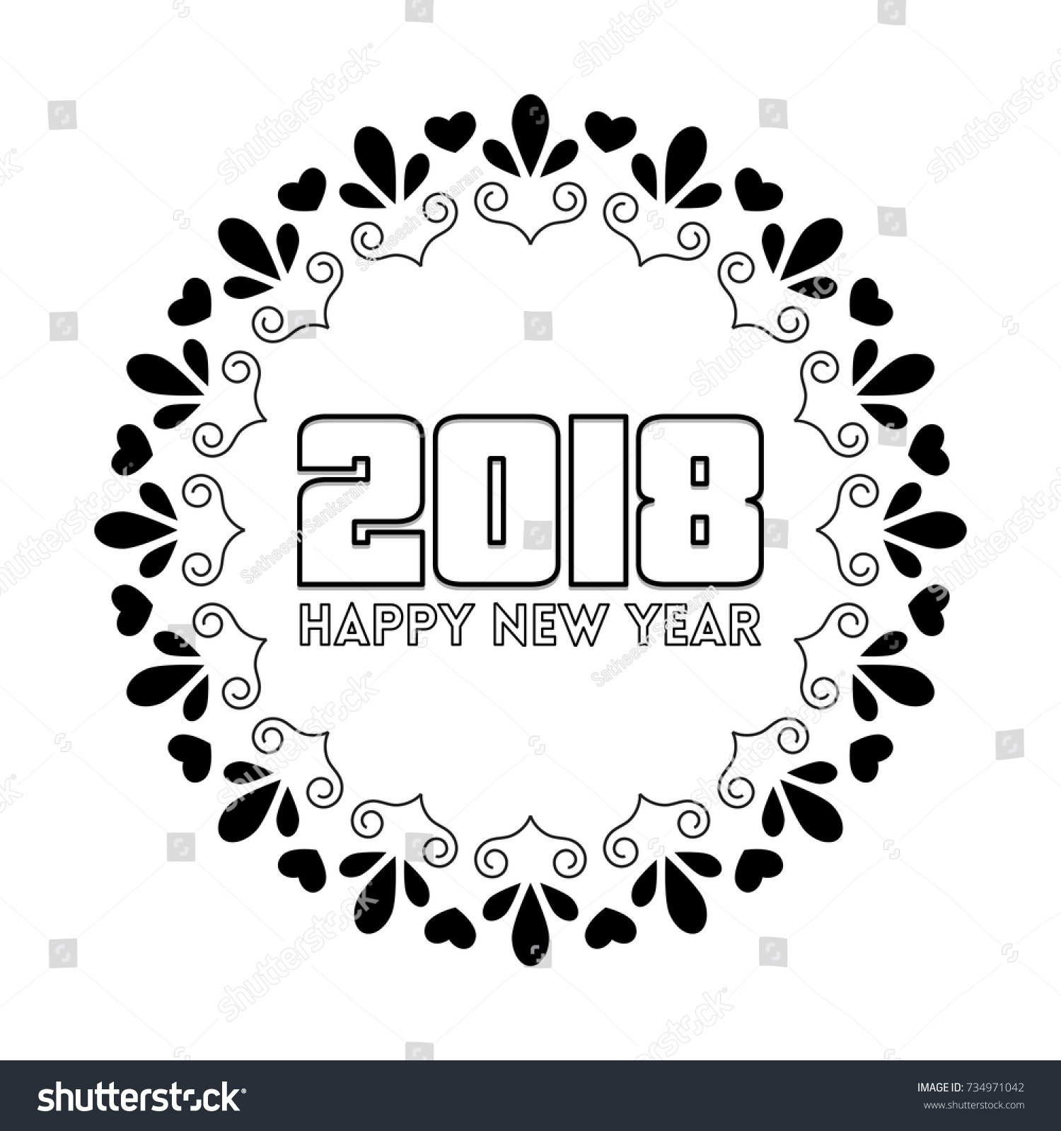 Creative Elegant Happy New Year Greetings Stock Vector 734971042 ...