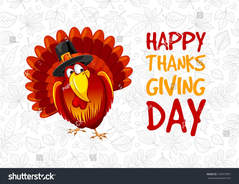 Thanksgiving Greeting Design Cute Cheerful Turkey Stock Vector