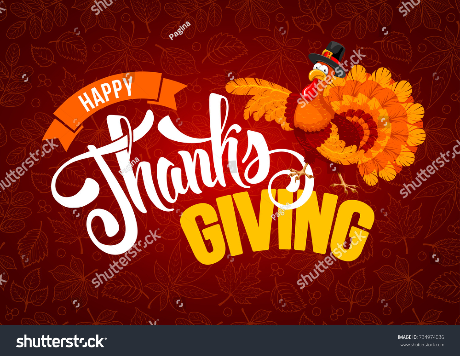 Thanksgiving Greeting Design With Cheerful Turkey And Calligraphy